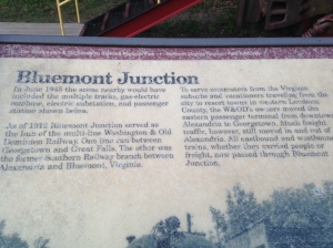 Bluemont is neighborhood in Arlington. It was a railroad junction and there is a stop along the trail that tells you all about it, along with a railroad car you can check out.